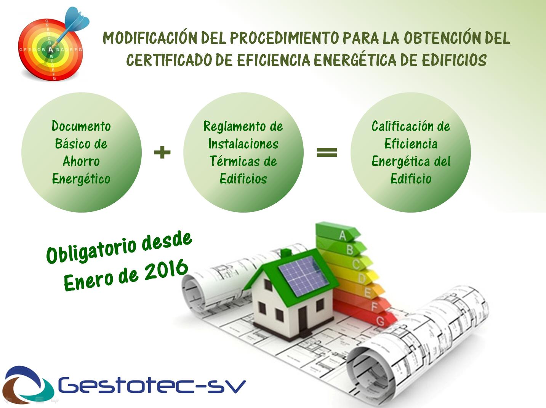 Modificación del procedimiento para la certificación de la eficiencia energética de edificios